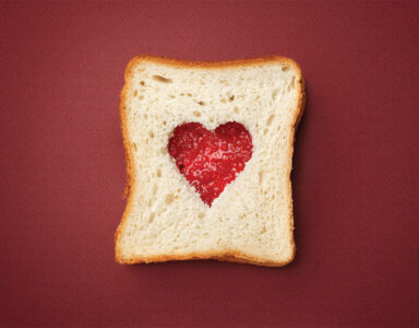 Jam sandwich with a loveheart cut out