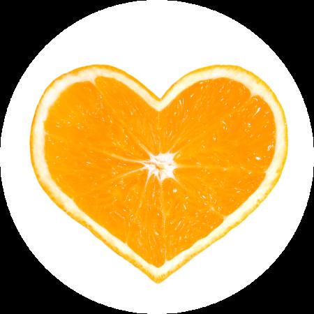 Orange segment heart shape