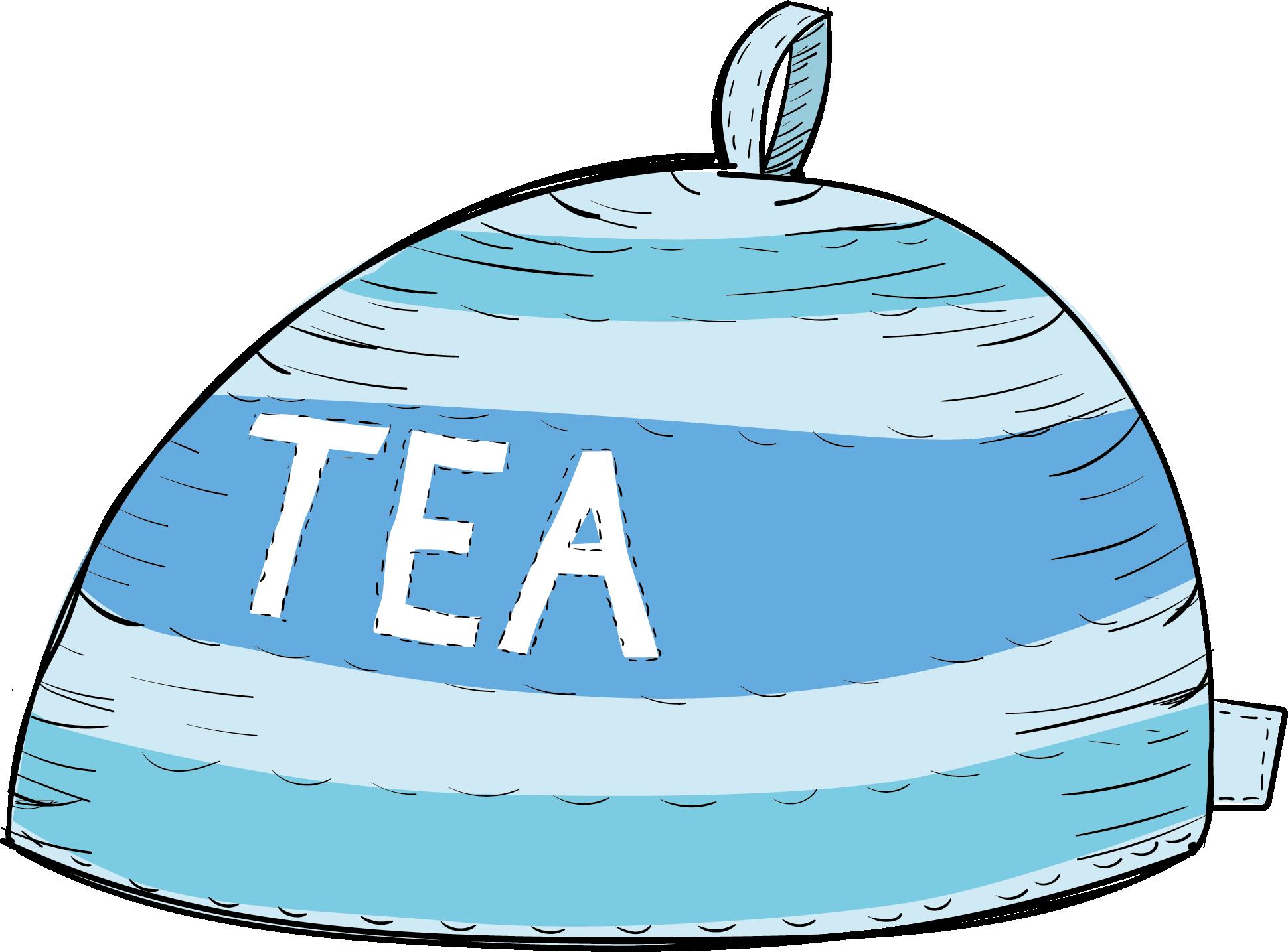 Blue Tea cosy illsutration