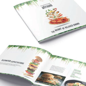 Open brochure showing design and photography