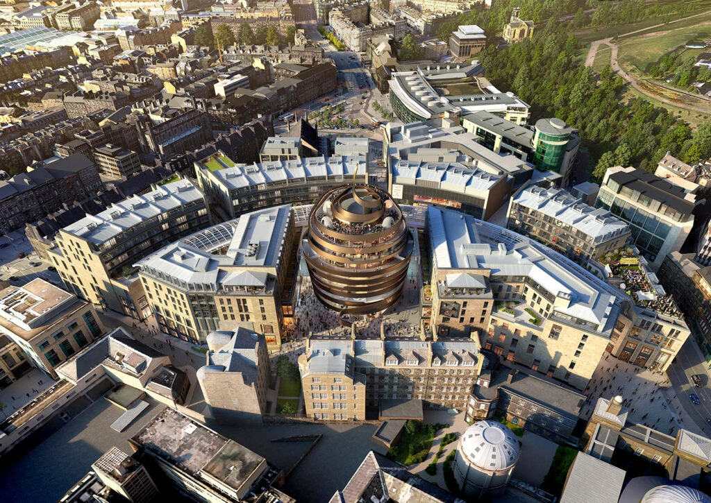 aerial image of St James Quarter as part of marketing project management